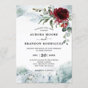 burgundy floral winter snow wedding invitation