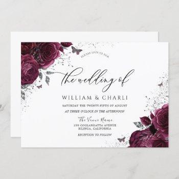 burgundy flowers butterfly wedding invitation