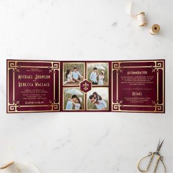 burgundy gold art deco photo collage wedding tri-fold invitation