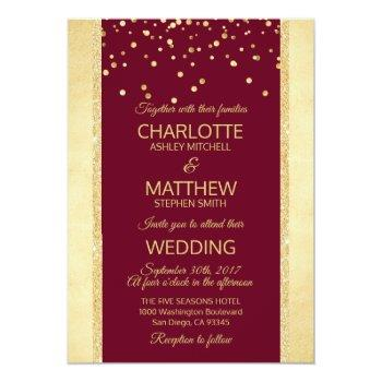 burgundy gold foil glitter wedding invitation