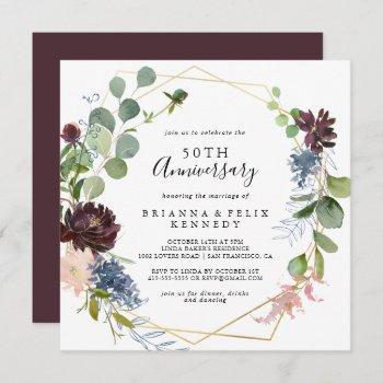 burgundy gold geometric 50th wedding anniversary invitation