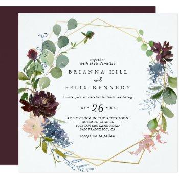 burgundy gold geometric casual wedding invitation