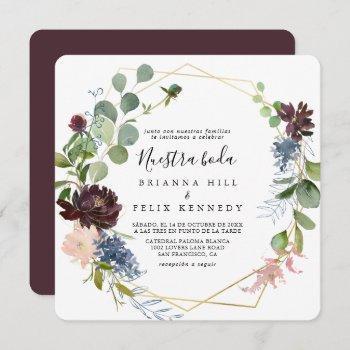 burgundy gold geometric nuestra boda wedding invitation
