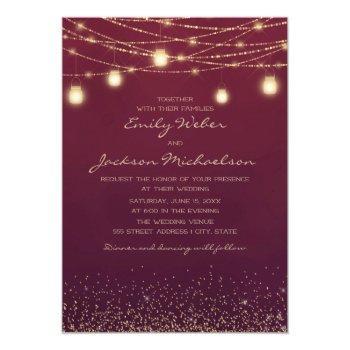 burgundy gold glitter string light lantern wedding invitation