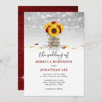 burgundy gray red rose sunflower rustic wedding invitation