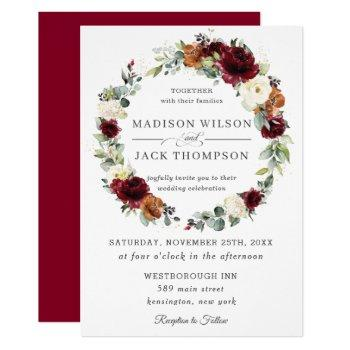 burgundy ivory rust orange floral wreath wedding invitation