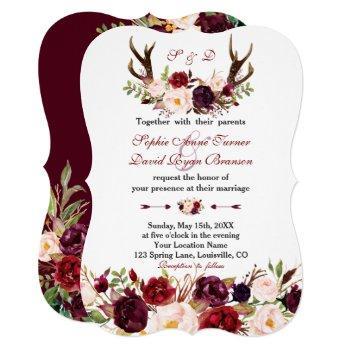 burgundy marsala floral antlers monogram wedding invitation