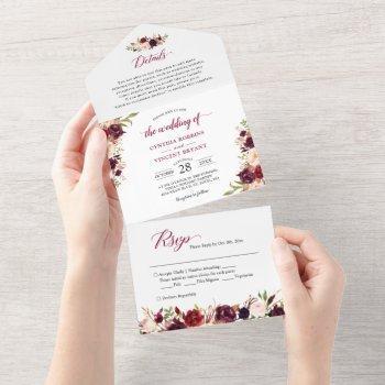 burgundy marsala floral wedding details rsvp all in one invitation