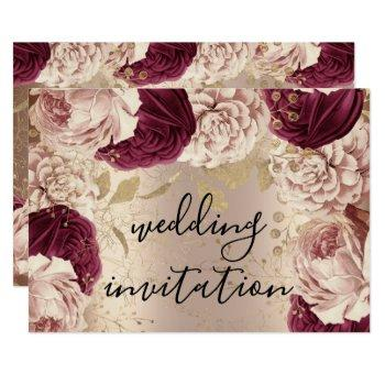 burgundy marsala wedding rose gold roses pink invitation