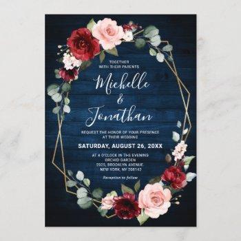 burgundy navy blush floral geometric wedding invitation