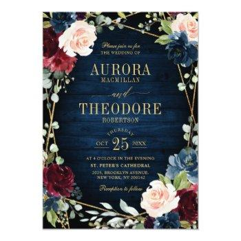 Small Burgundy Navy Blush Floral Gold Geometric Wedding Invitation Front View