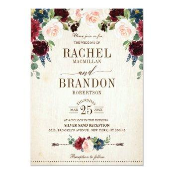 Small Burgundy Navy Floral Rustic Boho Country Wedding Invitation Front View