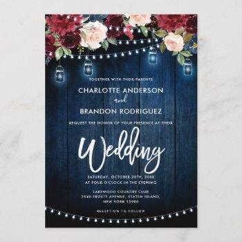 burgundy navy floral rustic string light wedding invitation