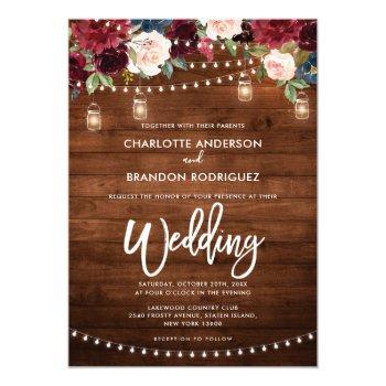 burgundy navy floral rustic string light wedding invitation