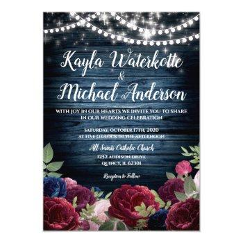 burgundy & navy floral rustic wedding invite