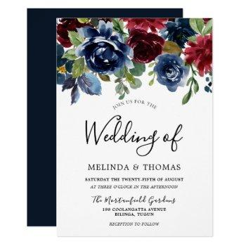 burgundy & navy watercolor flowers fall wedding invitation
