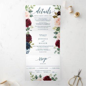 burgundy navy wedding tri-fold invitations