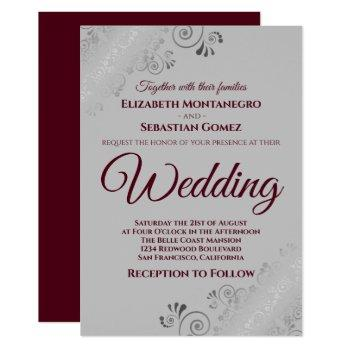 burgundy on gray with lacy silver frills wedding invitation