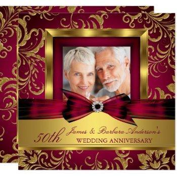 burgundy plum gold photo 50th wedding anniversary invitation