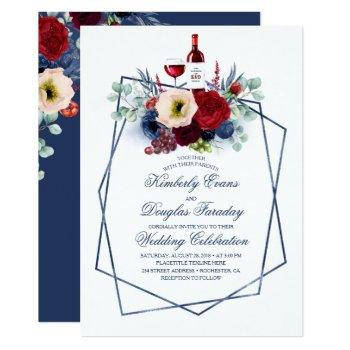 burgundy red and navy blue floral winery wedding invitation