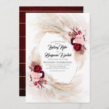 burgundy red and pink floral pampas grass wedding invitation