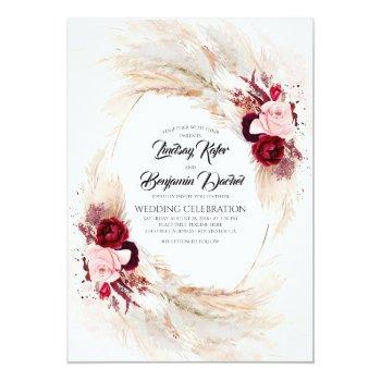 Small Burgundy Red And Pink Floral Pampas Grass Wedding Invitation Front View