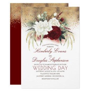 burgundy red and white floral elegant wedding invitation