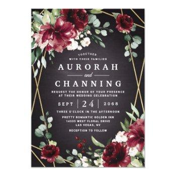 burgundy red black and gold floral elegant wedding invitation
