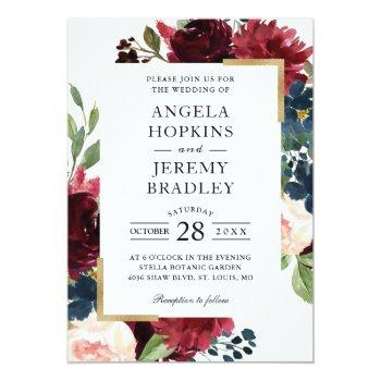 Small Burgundy Red Blush Floral Navy Blue Gold Wedding Invitation Front View