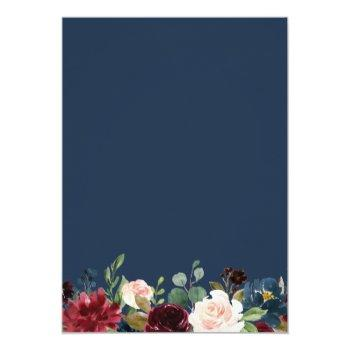 Small Burgundy Red Blush Floral Navy Blue Gold Wedding Invitation Back View