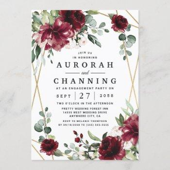 burgundy red blush gold greenery engagement party invitation