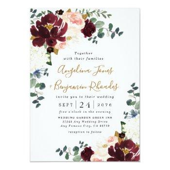 Small Burgundy Red Blush Pink And Gold Floral Wedding Front View