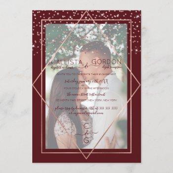 burgundy red gold confetti border photo engagement invitation