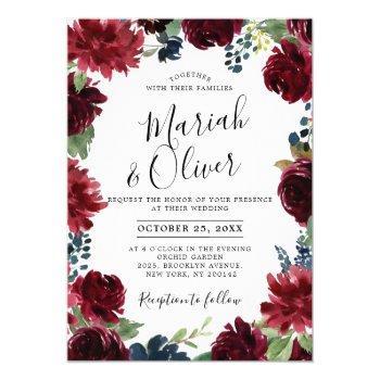 burgundy red navy blue floral boho wedding invitation
