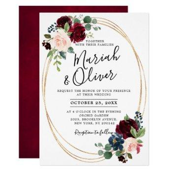 burgundy red navy blue floral geometric wedding invitation