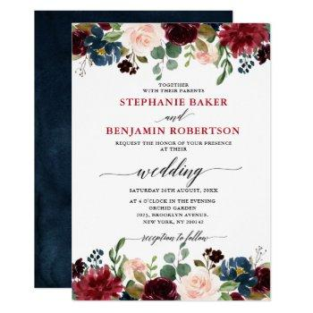 burgundy red navy blue floral rustic boho wedding invitation