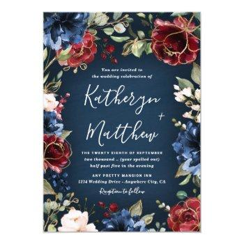 burgundy red navy blue gold and blush pink wedding invitation