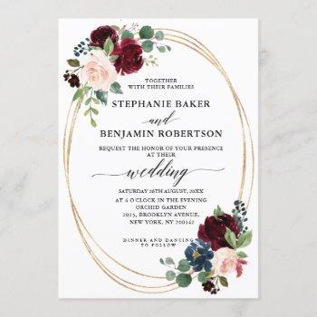 burgundy red navy floral modern geometric wedding invitation