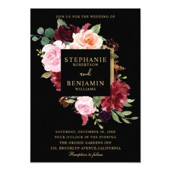 burgundy red navy floral rustic boho wedding invitation