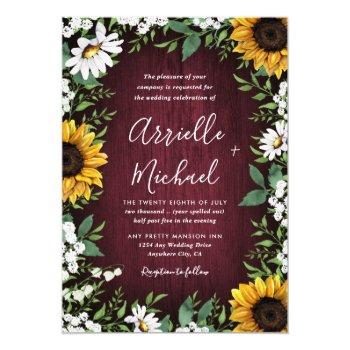 burgundy red sunflower greenery wreath wedding invitation