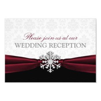 burgundy ribbon winter wedding reception invitation