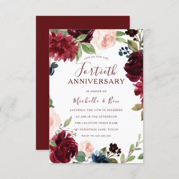 burgundy ruby red floral 40th wedding anniversary invitation