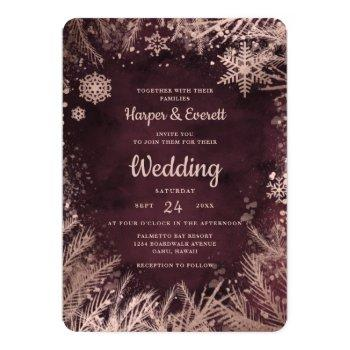 burgundy watercolor with rose gold winter wedding invitation
