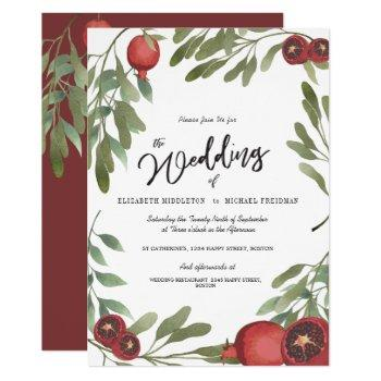 burgundy wedding green leaves modern botanical invitation