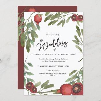 burgundy wedding green leaves modern botanical invitation