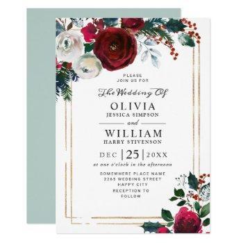 burgundy winter roses foliage watercolor wedding invitation