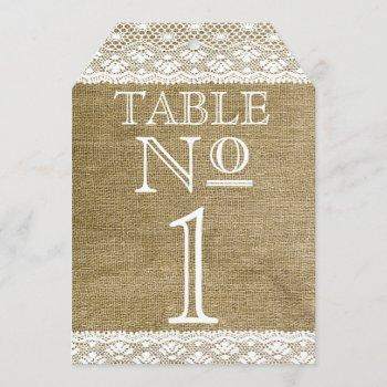 burlap and lace look typography table numbers |
