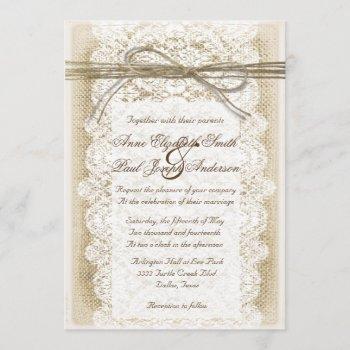 burlap and lace twine bow wedding invitation