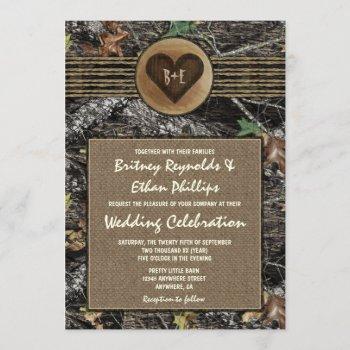 burlap + carved heart camo wedding invitations