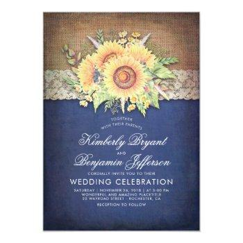burlap lace and sunflower navy rustic fall wedding invitation